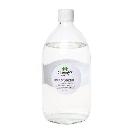 Eine Glasflasche mit Desinfektionsmittel