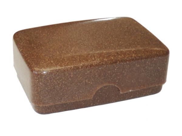 Seifendose mit Deckel aus braunem Flüssigholz