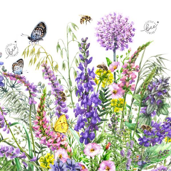 Veganes Bienenwachstuch mit Blumenmotiv