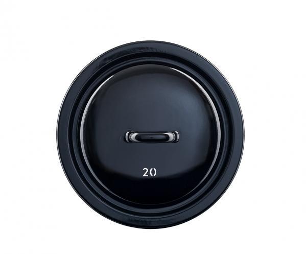 Schwarzer Topfdeckel aus Emaille