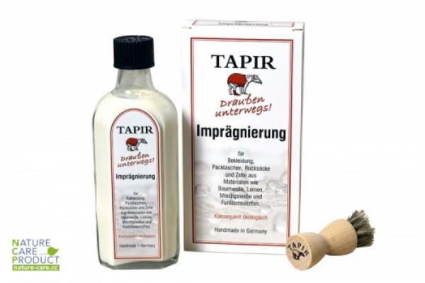 Eine Flasche Tapir Imprägnierung mit Pinsel und Verpackung