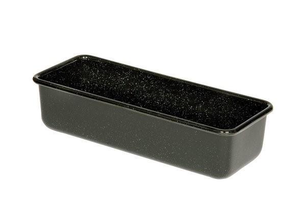 Kastenbackform aus schwarzer Emaille