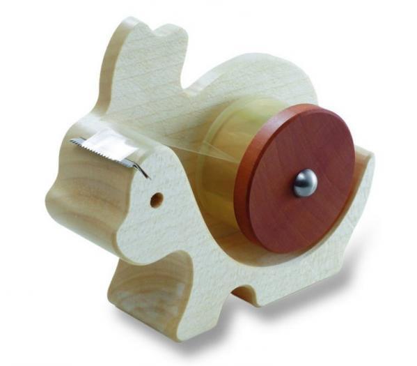 Klebefilmabroller aus Holz in Form eines Hasens