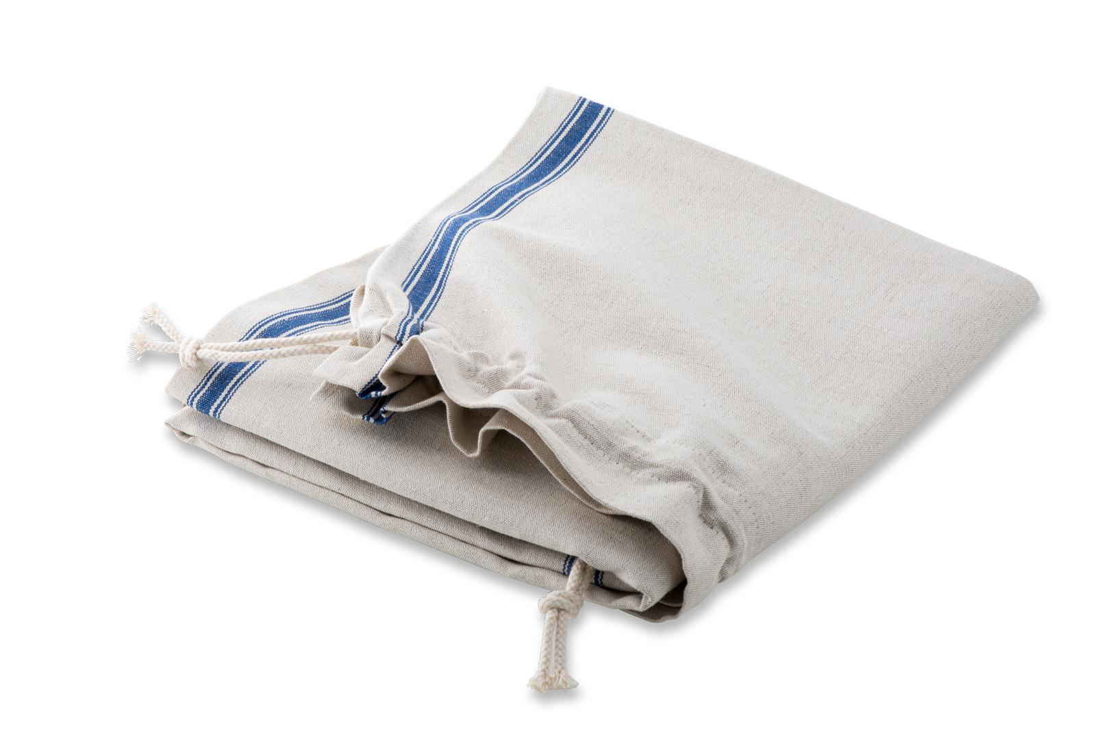 Leinen-Wäschesack mit blauer Webkante